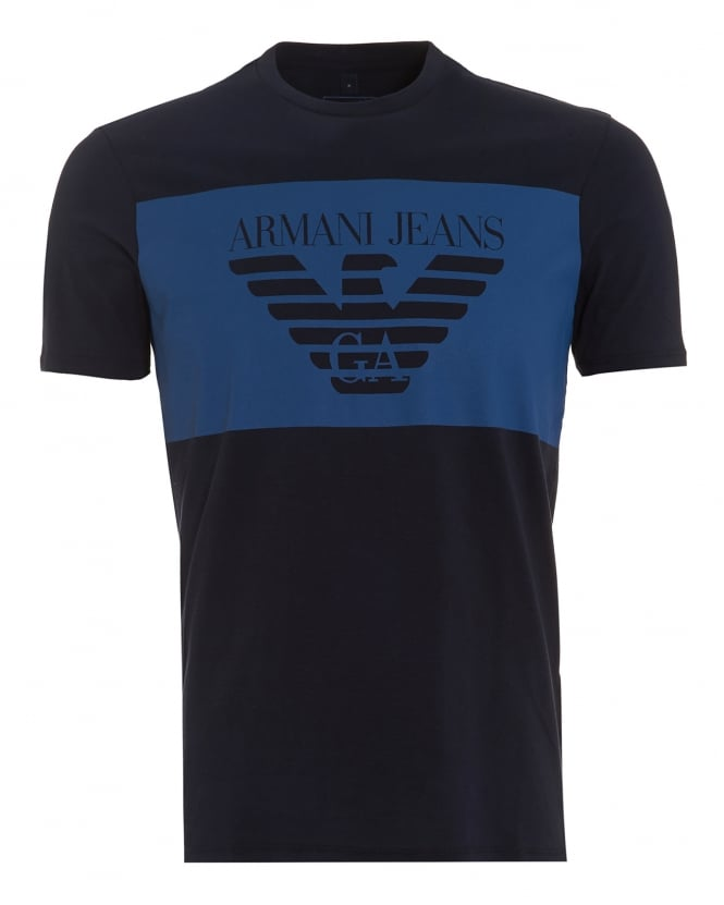 Armani Jeans Mens Large Block T-Shirt, Regular Fit Navy Blue Tee