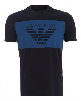 Mens Large Block T-Shirt, Regular Fit Navy Blue Tee
