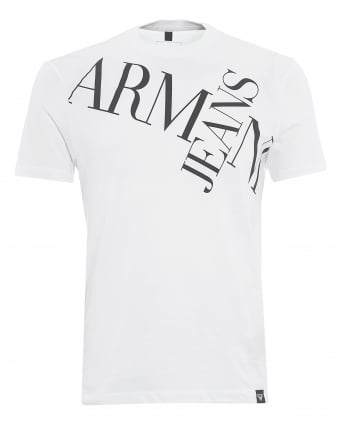 Mens Letter Cross T-Shirt, Letter Logo White Tee