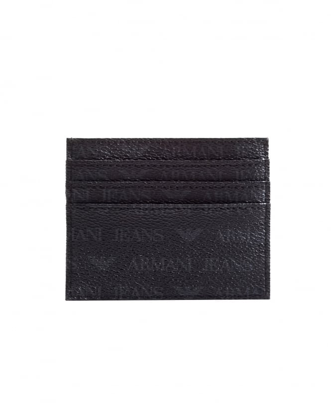 Armani Jeans Mens Logo Patterned Black Card Holder