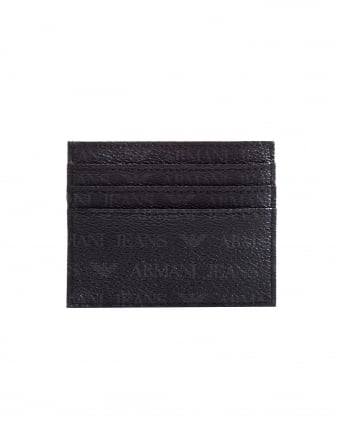 Mens Logo Patterned Black Card Holder