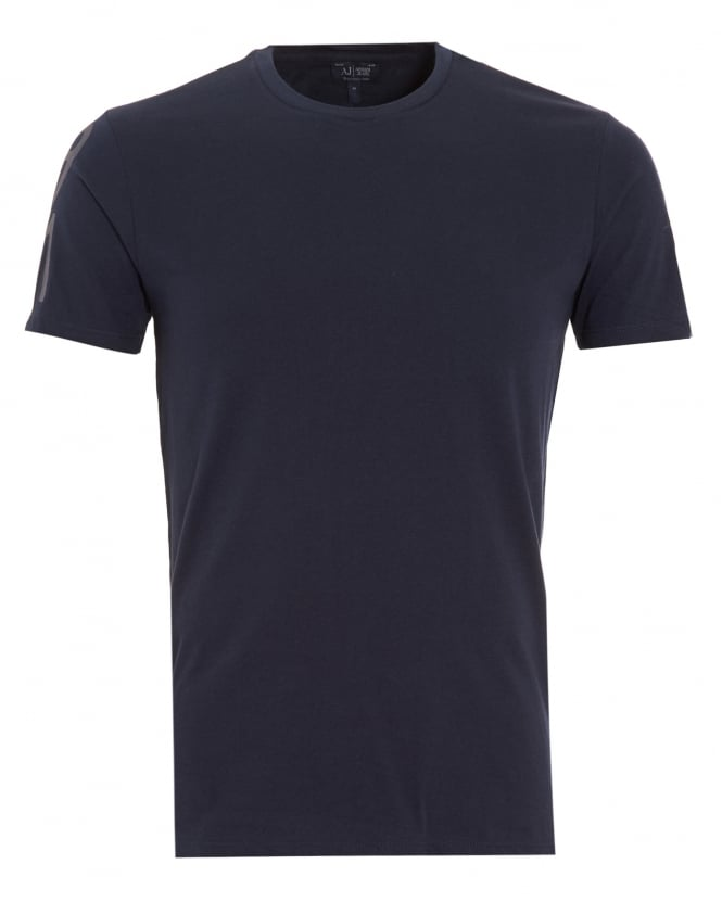 Armani Jeans Mens Logo Sleeve Navy Blue T-Shirt