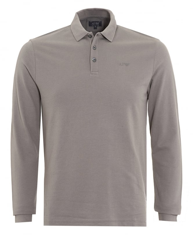 Armani Jeans Mens Long Sleeve Charcoal Grey Logo Polo