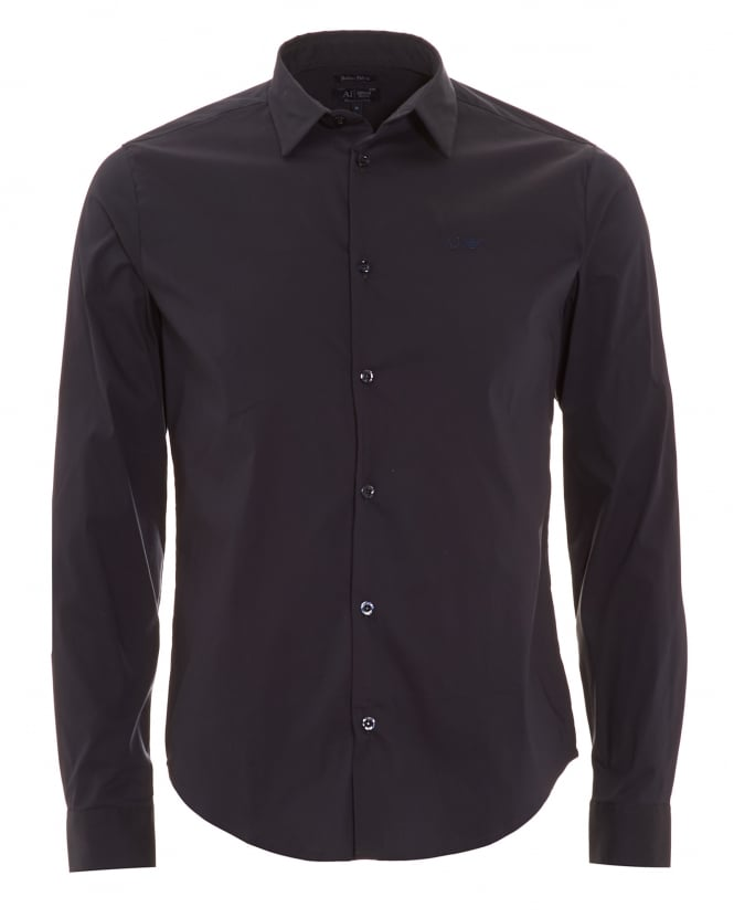 Armani Jeans Mens Long Sleeve Navy Blue Slim Fit Shirt