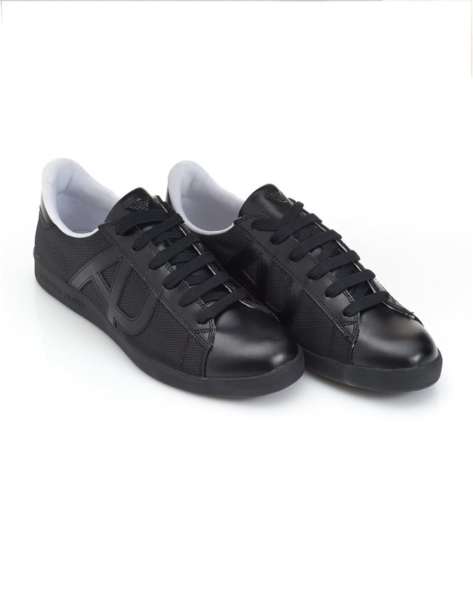 Armani Jeans Mens Low Cut Mesh Leather Black Trainers