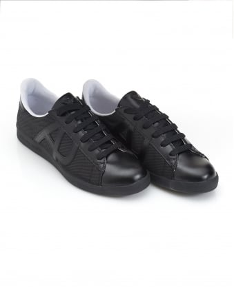 Mens Low Cut Mesh Leather Black Trainers