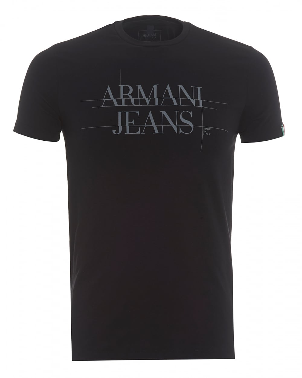 Armani jeans mens made in italy t shirt back logo black tee for Shirts made in italy