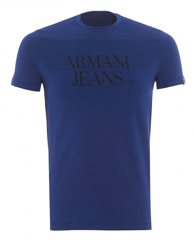 Armani Jeans Mens Made In Italy T-Shirt, Back Logo Bluette Tee