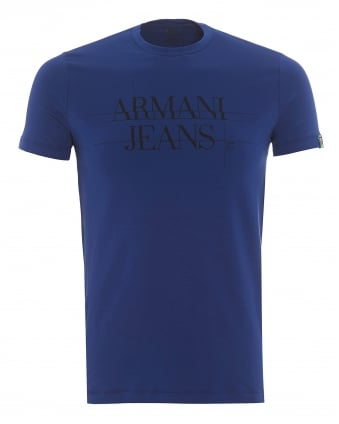 Mens Made In Italy T-Shirt, Back Logo Bluette Tee