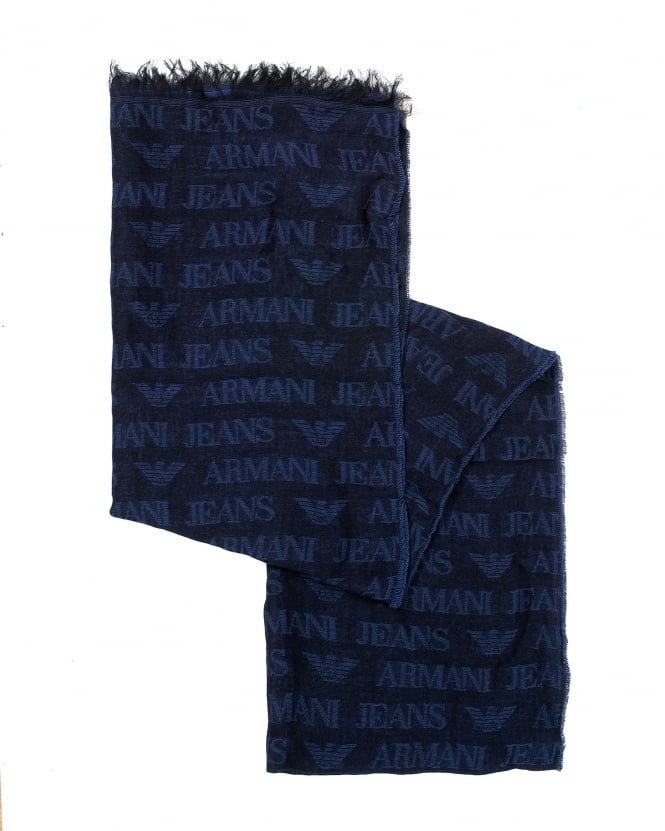 Armani Jeans Mens Navy Blue All Over Logo Lightweight Scarf
