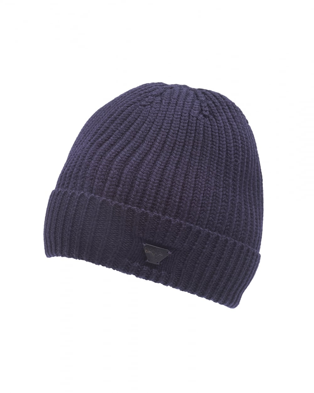 Armani Jeans Mens Navy Blue Chunky Wool Badge Beanie Hat 23a3097f812