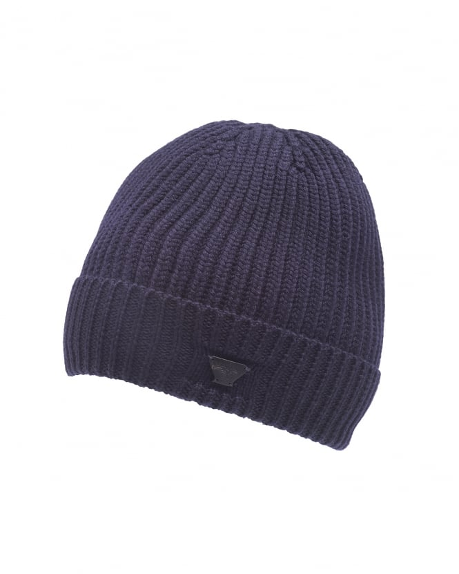 Armani Jeans Mens Navy Blue Chunky Wool Badge Beanie Hat