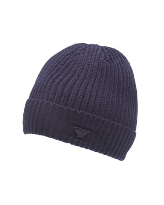 Mens Navy Blue Chunky Wool Badge Beanie Hat