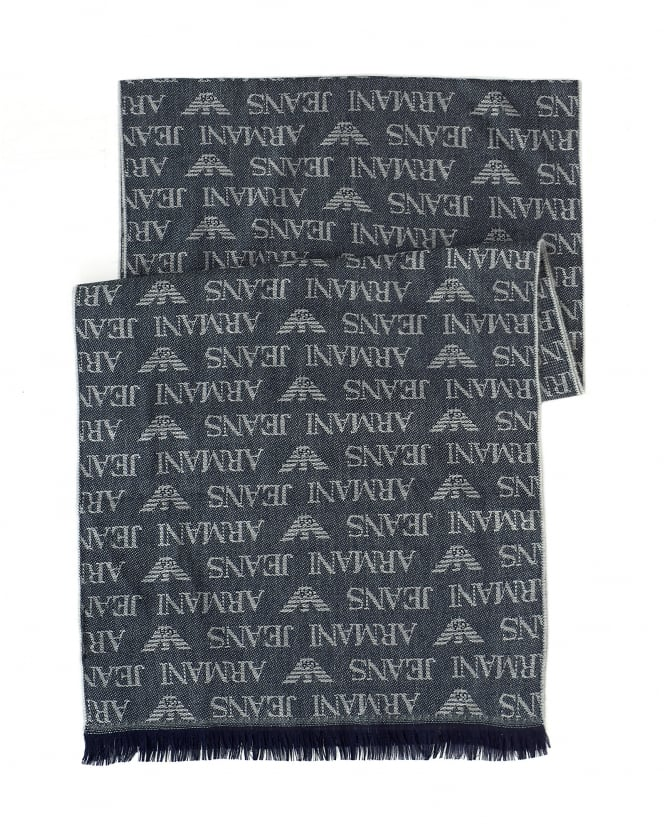 Armani Jeans Mens Navy Blue Logo Scarf