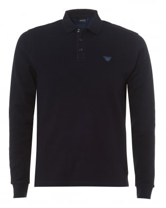 Mens Navy Blue Regular Fit Long Sleeved Polo Shirt