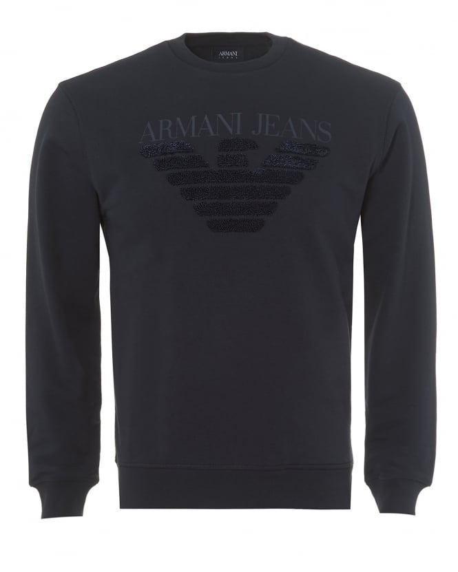 Armani Jeans Mens Navy Blue Sweatshirt, Regular Fit Felpa Logo Sweater