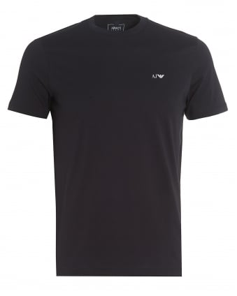 Mens Navy Blue T-Shirt, Regular Fit Logo Tee