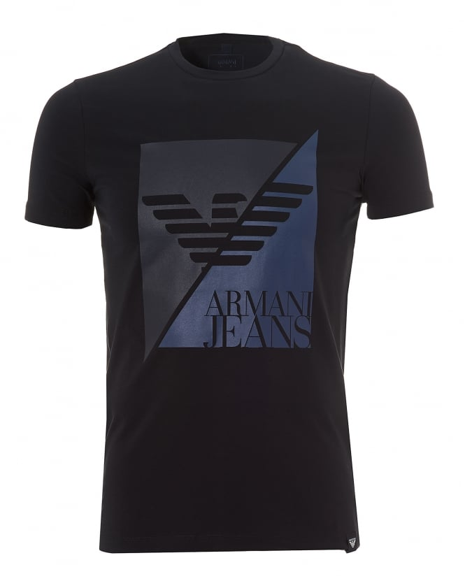 Armani Jeans Mens Navy Blue T-Shirt, Slim Fit Split Eagle Logo Stretch Tee