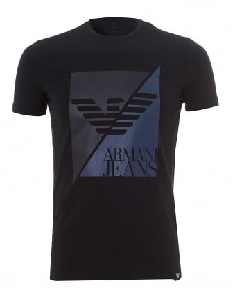 Mens Navy Blue T-Shirt, Slim Fit Split Eagle Logo Stretch Tee