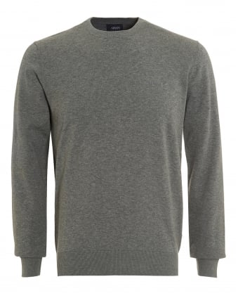 Mens Piped Jumper, Crew Neck Grey Knit