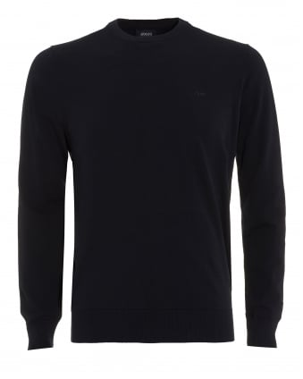 Mens Piped Jumper, Crew Neck Navy Blue Knit