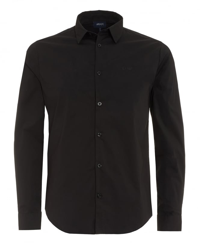Armani Jeans Mens Plain Black Cotton Poplin Stretch Shirt