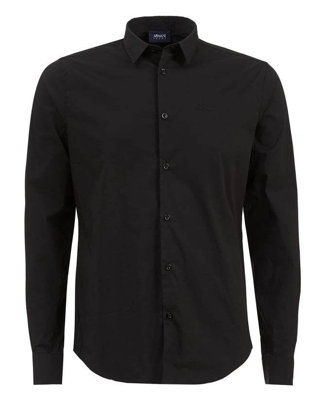 Armani Jeans Mens Plain Long Sleeved Stretch Cotton Black Shirt