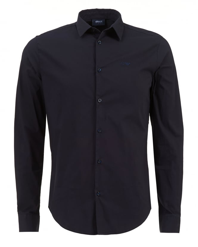 Armani Jeans Mens Plain Long Sleeved Stretch Cotton Navy Shirt