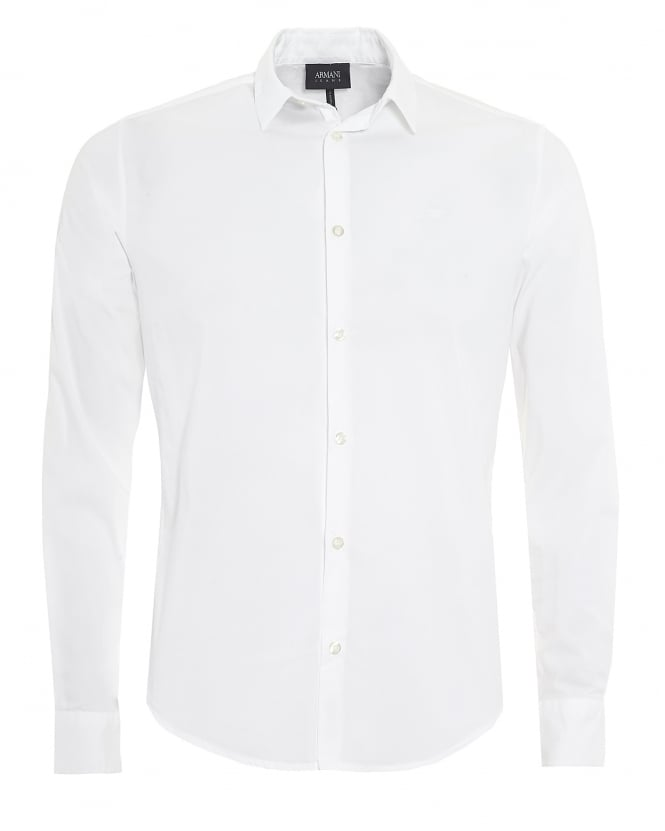 Armani Jeans Mens Plain Long Sleeved Stretch Cotton White Shirt