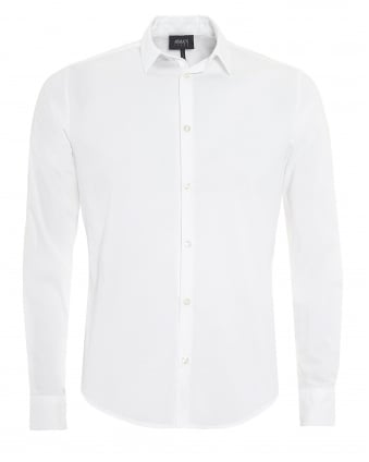 Mens Plain Long Sleeved Stretch Cotton White Shirt