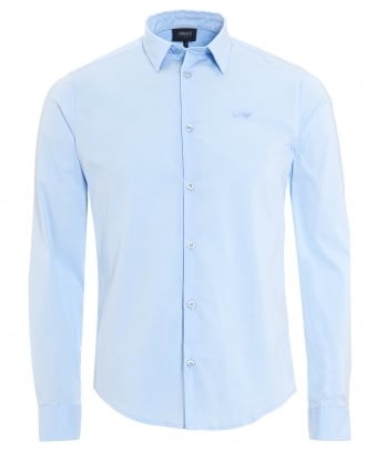 Mens Plain Sky Blue Cotton Poplin Stretch Shirt
