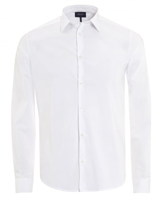 Armani Jeans Mens Plain White Cotton Poplin Stretch Shirt