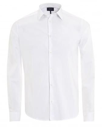 Mens Plain White Cotton Poplin Stretch Shirt