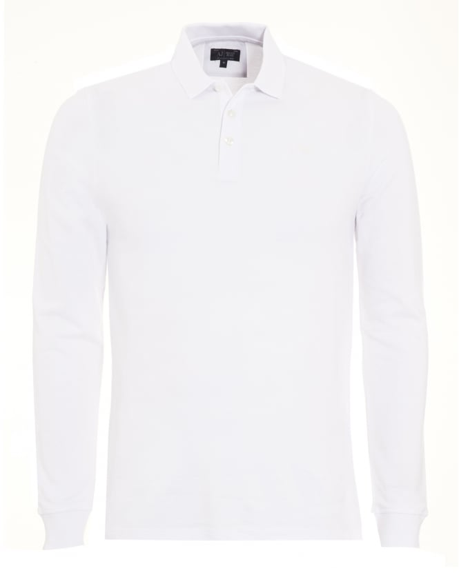 Armani Jeans Mens Polo Shirt, Optic White Long Sleeve Polo