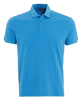Mens Polo Shirt Plain Blue Muscle Fit Polo
