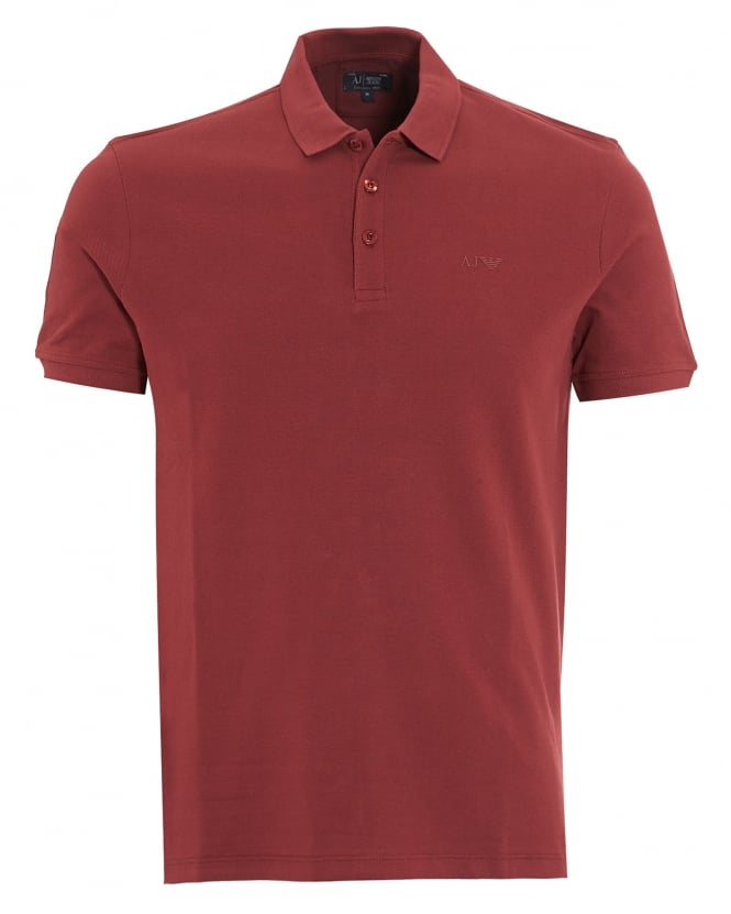 Armani Jeans Mens Polo Shirt Plain Burgundy Red Muscle Fit Polo