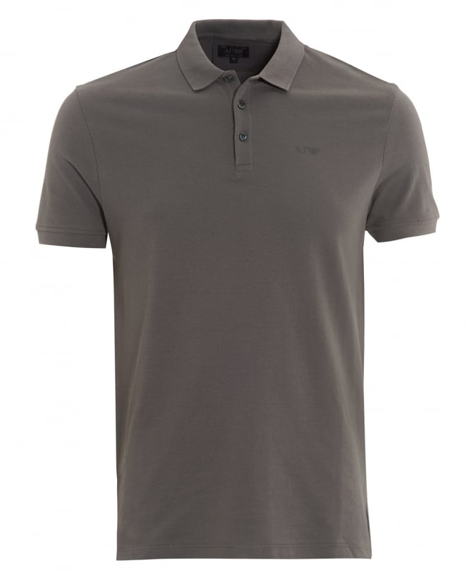 Armani Jeans Mens Polo Shirt Plain Grey Short Sleeve Polo