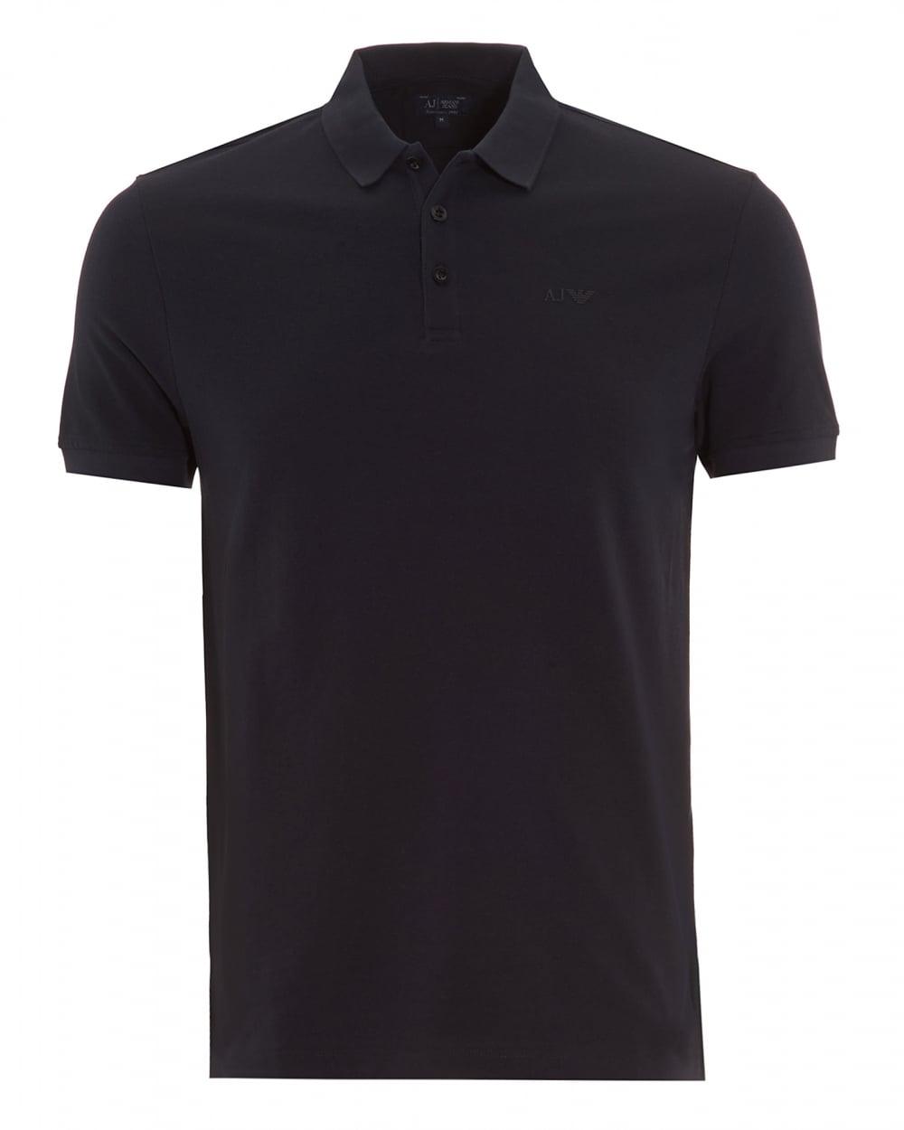armani jeans mens polo shirt plain navy blue short sleeve polo