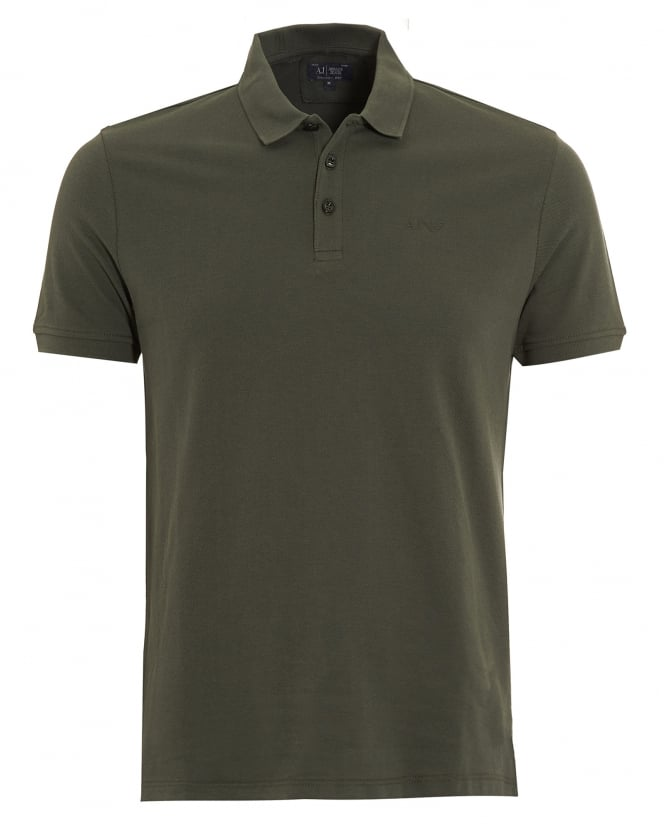 Armani Jeans Mens Polo Shirt Plain Olive Green Muscle Fit Polo
