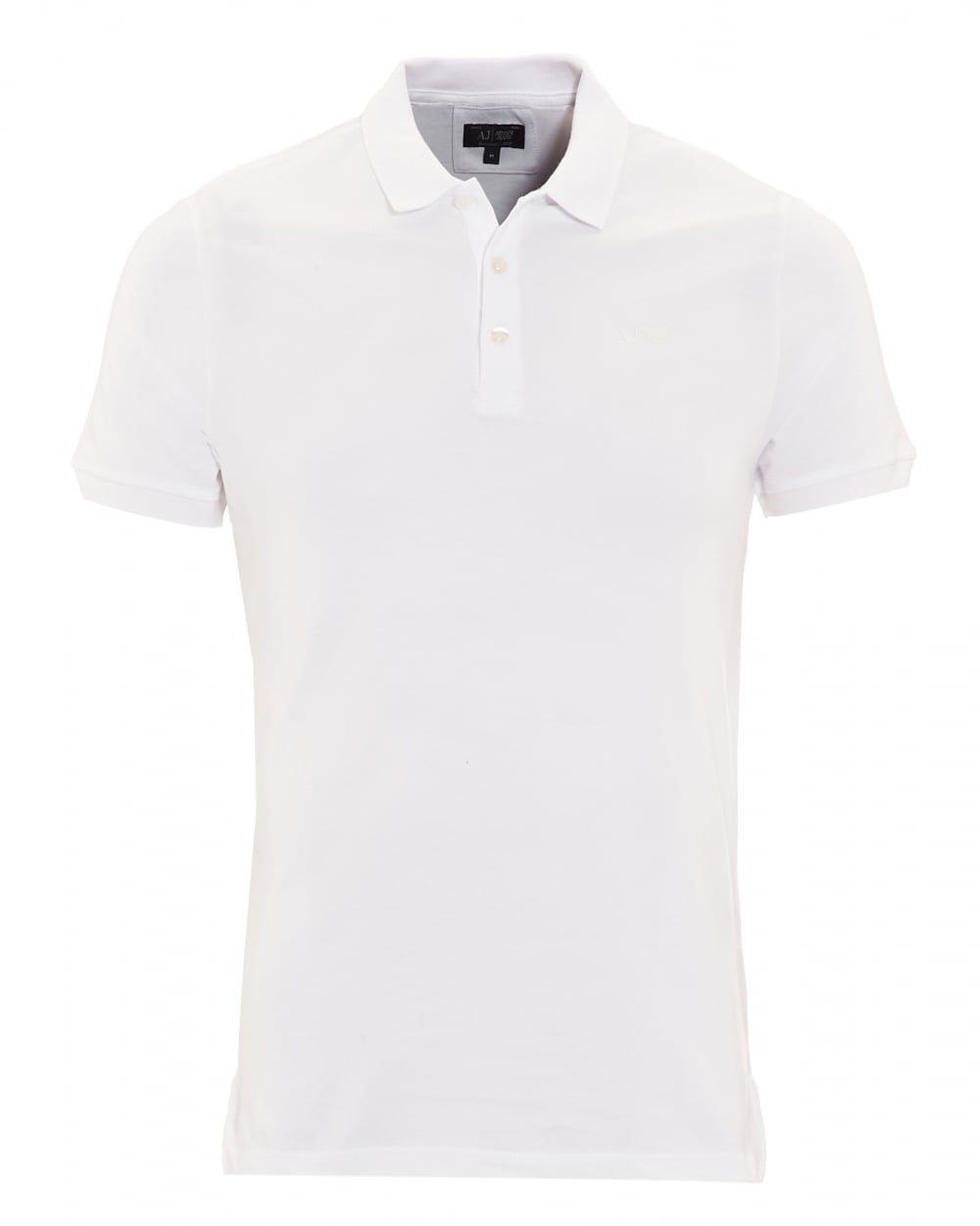 Armani Jeans Mens Polo Shirt, Plain White Short Sleeve Polo