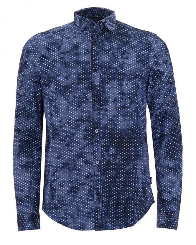 Armani Jeans Mens Regular Fit Blue Camo Star Print Shirt