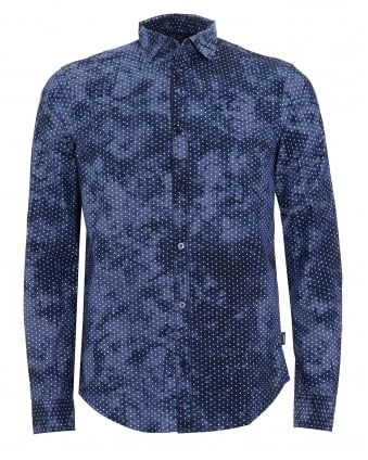 Mens Regular Fit Blue Camo Star Print Shirt