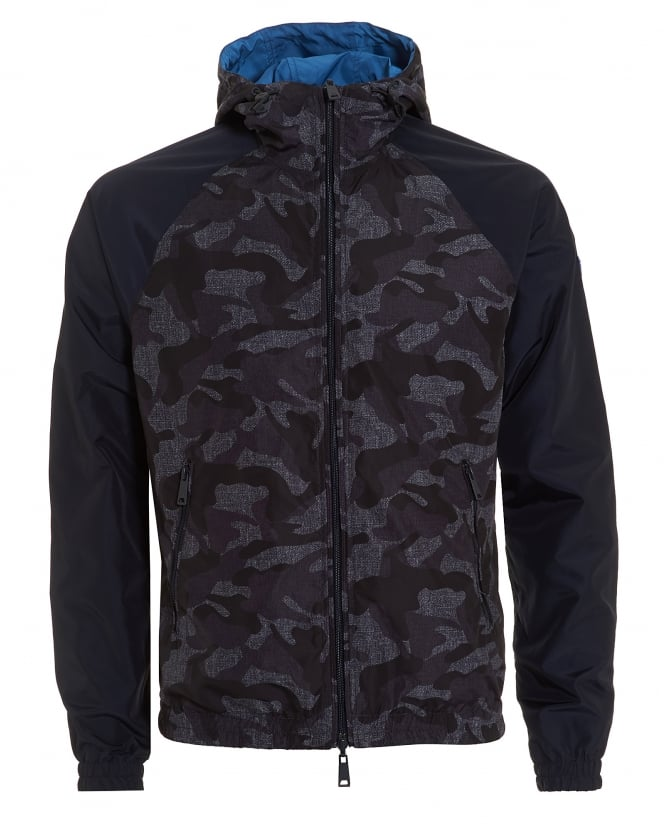 Armani Jeans Mens Reversible Jacket, Hooded Cammo Blue Coat