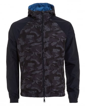 Mens Reversible Jacket, Hooded Cammo Blue Coat