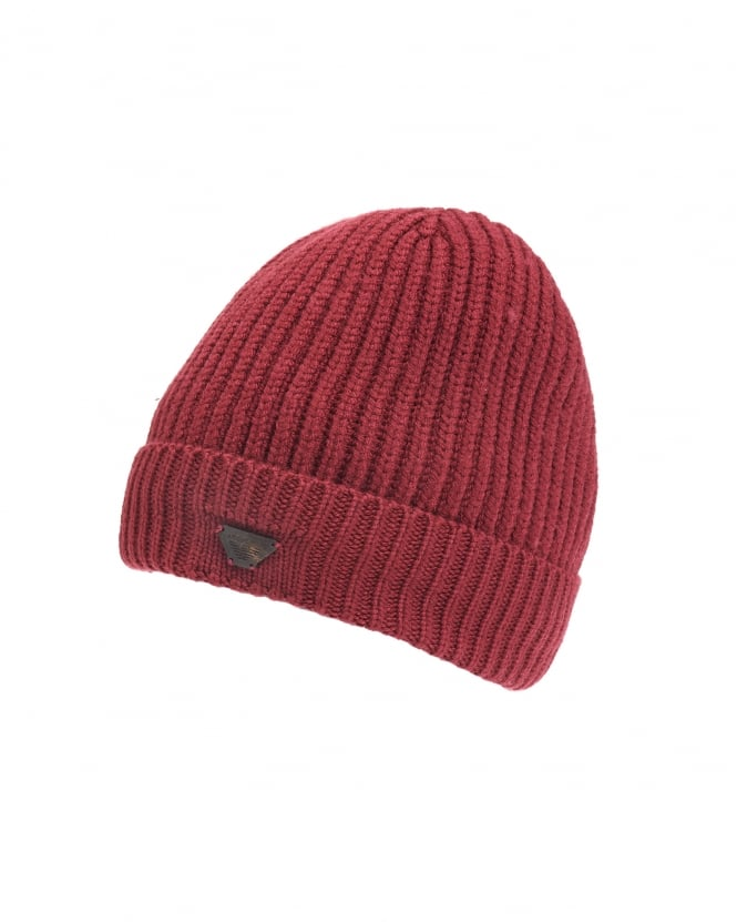 Armani Jeans Mens Ribbed Wool Logo Badge Bordeaux Beanie Hat