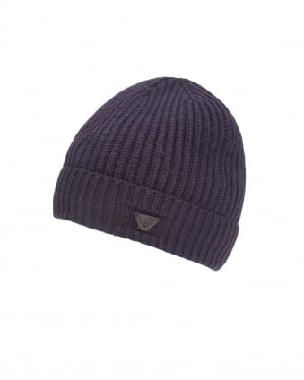Mens Ribbed Wool Logo Badge Navy Blue Beanie Hat
