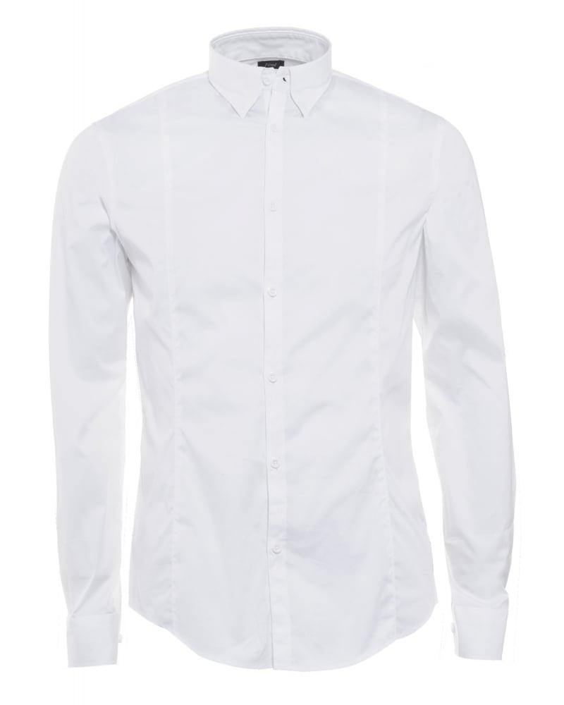 Mens Shirt Poplin Stretch Slim Fit White Shirt