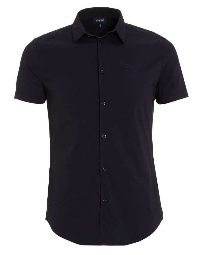 Armani Jeans Mens Short Sleeved Plain Navy Blue Shirt