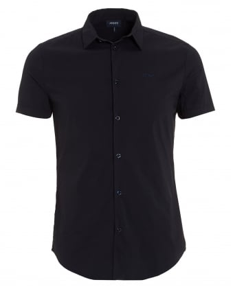 Mens Short Sleeved Plain Navy Blue Shirt