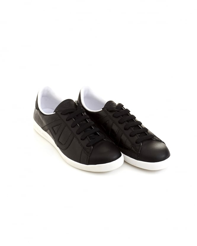 Armani Jeans Mens Side AJ Logo Black Leather Trainers